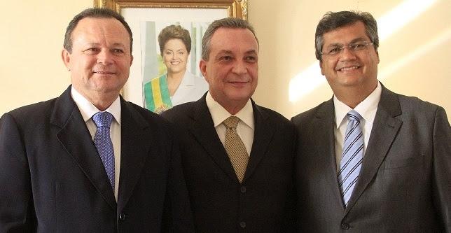 Vice-governador Carlos Bradão, ex-secretário Luis Fernando e o governador Flávio Dino