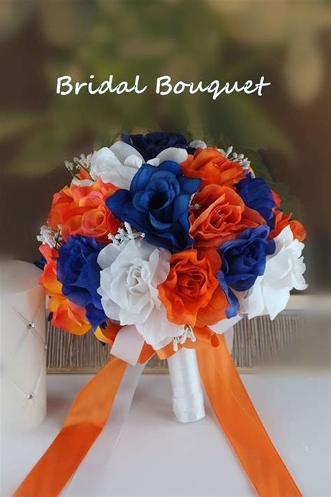 bridal bouquet royal blue white orange wedding bridal silk