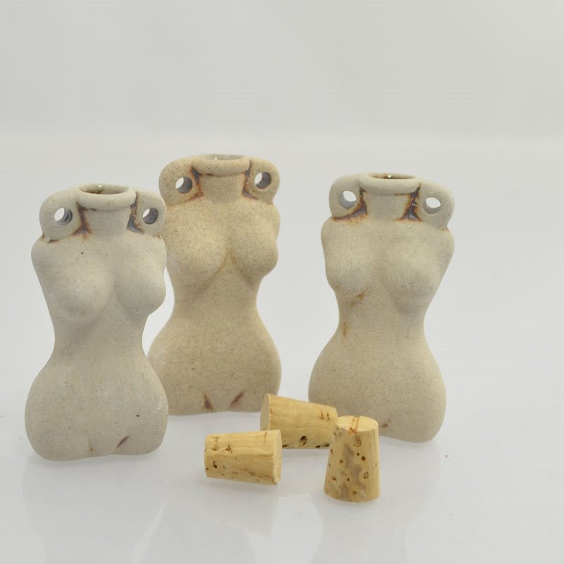 s43981 Ceramic Vessel / Bottle Pendant -  Goddess Torso - Unglazed Antiqued Bisque (1)
