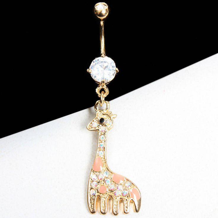 Cute Giraffe Girl Women Body Jewelry Rhinestone Crystal Belly Ring