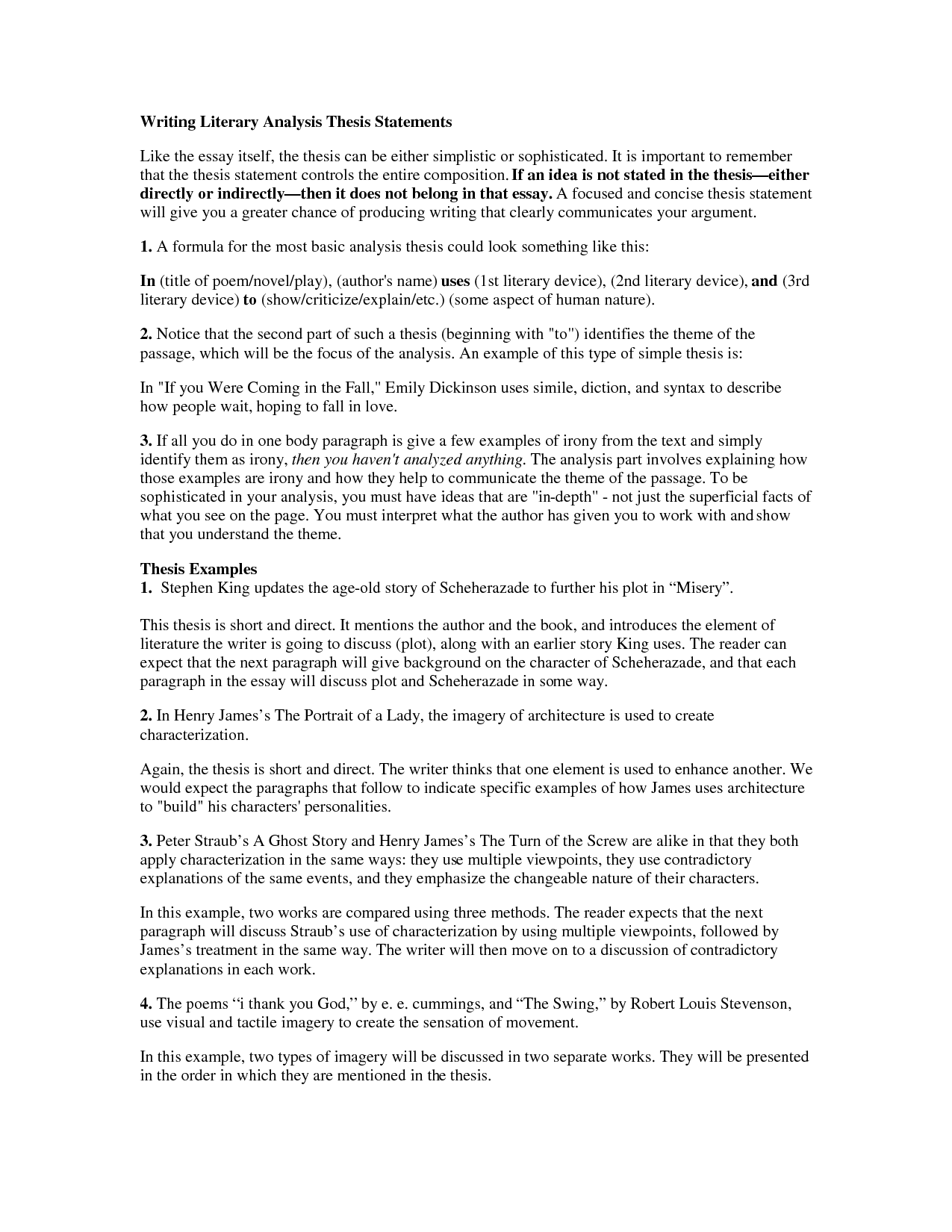 writing a thesis statement for a literary essay