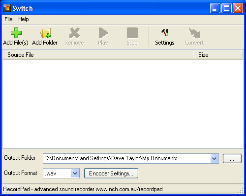 Switch Audio Conversion Utility for Windows
