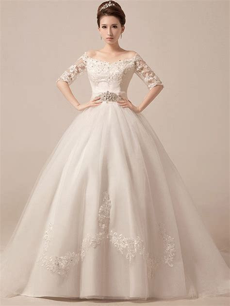 Off Shoulder Ball Gown Wedding Dress Debutante Ball Gown