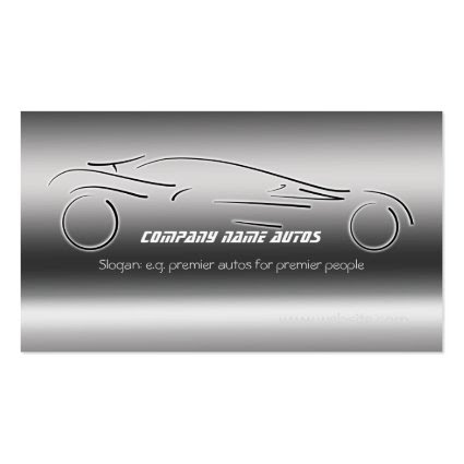 Auto Sales, Luxury Silver Sportscar, steel-effect Business Card Template