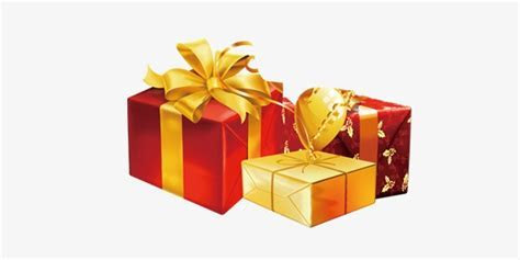 Small Golden Gift Box, Yellow, Golden, Red PNG and PSD