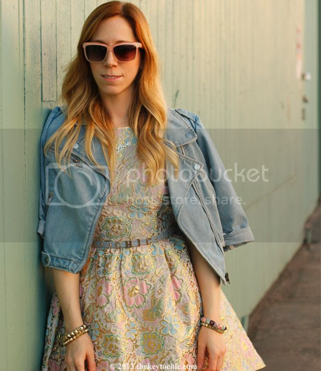 Boohoo Boutique Georgie brocade prom dress, denim moto jacket, Topshop chic belt, Los Angeles fashion blog