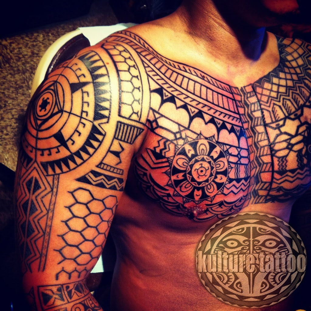 Filipino Tribal Tattoo On Man Chest And Right Half Sleeve