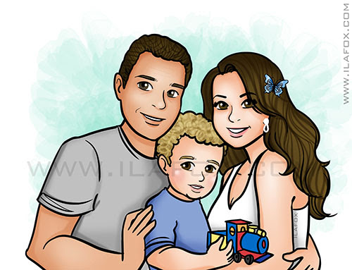 retrato família, retrato personalizado, retrato casal e filho, retrato para presentes, by ila fox