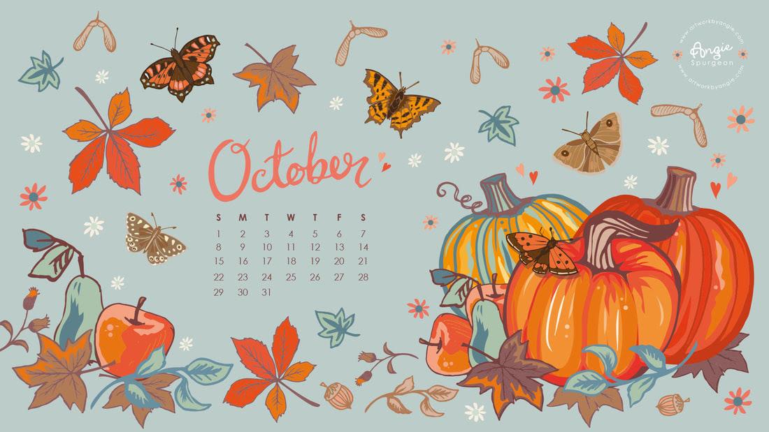OCTOBER  WELCOMING AUTUMN WITH A FREE DESKTOP WALLPAPER  www.artworkbyangie.com