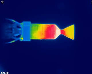 This image reveals a temperature profile of a thruster using the green propellant LMP-103S during a 10-second pulsing test.