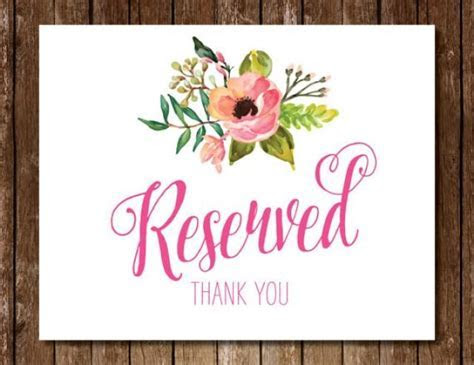 Reserved Sign   5x7 8x10 11x14 Summer Wedding Flowers