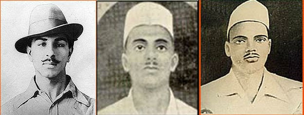 From Left : Bhagat Singh, Sukhdev and Rajguru