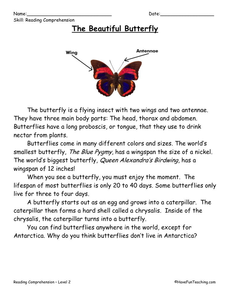 Reading Prehension Worksheet The Beautiful Butterfly