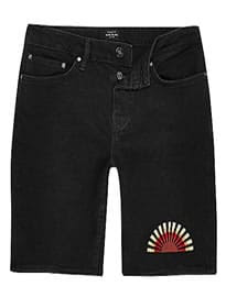 River Island Black Slim Cut Sun Embroidered Shorts