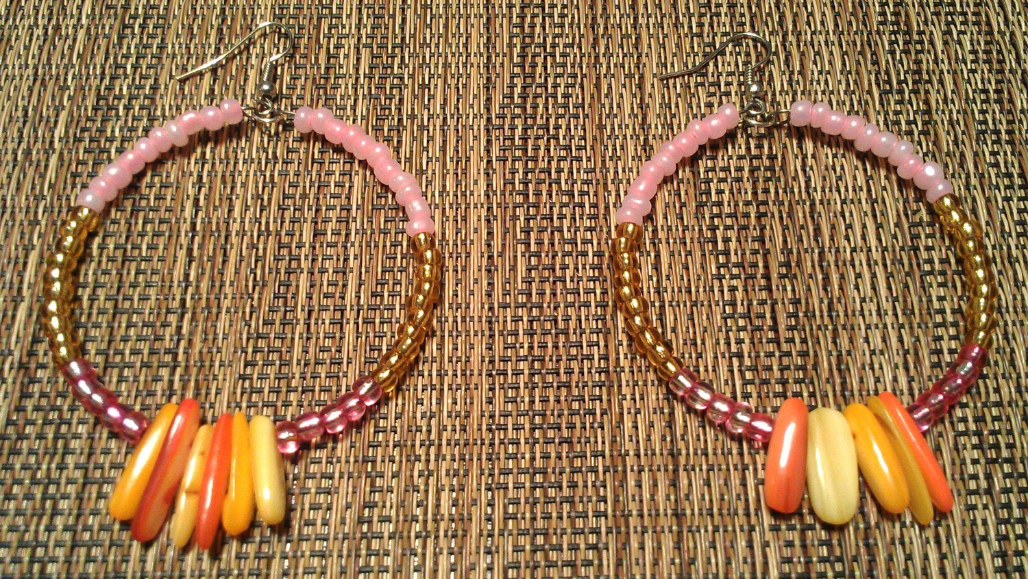 "Pink, Orange, and Yellow Beaded Hoop Earrings with Hanging Glass Beads: ""Candy Rain"""