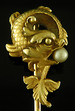 French sea serpent stickpin with pearl. (J9129)