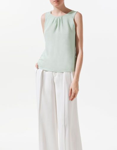 Zara Pleated Top with Opening at the Back