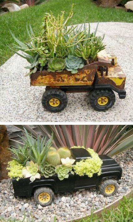 Use old trucks that was the kids favorite while growing up, great sentimental idea