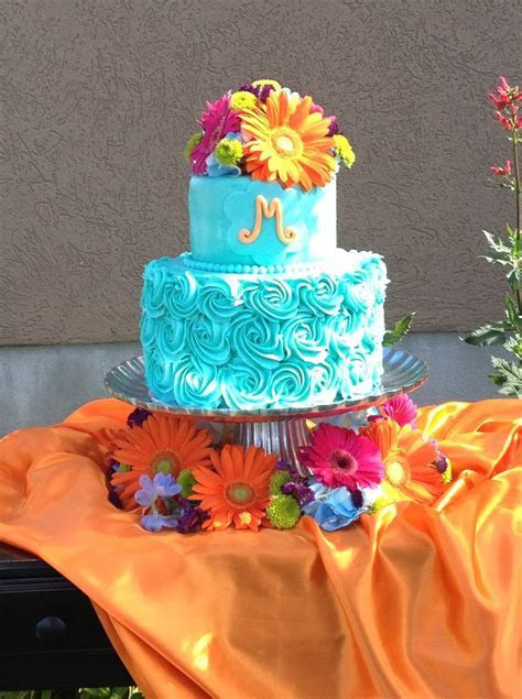 Teal and coral wedding cake   My Cakes and Cupcakes