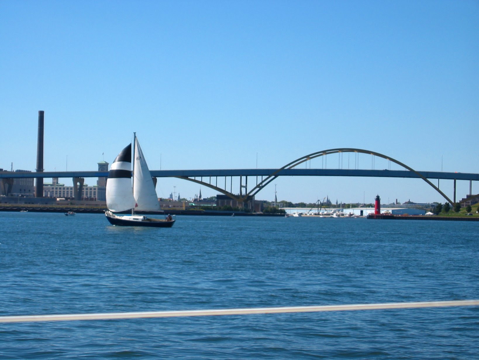 Milwaukee McKinley Marina - Hoan Bridge and a Sail Boat - soul-amp.com