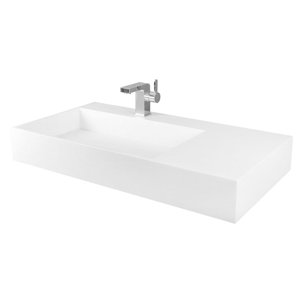 Dax Solid Surface Rectangle Single Bowl Top Mount Bathroom Sink White
