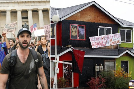 Occupy protesters (left) and a formerly boarded-up duplex taken over by protesters in Seattle's Central District this month.
