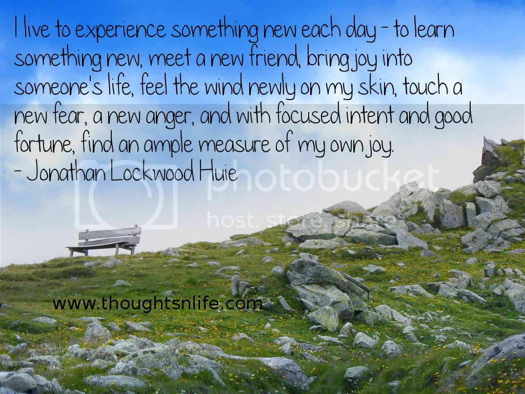 Thoughtsnlife.com :I live to experience something new each day - to learn something new, meet a new friend, bring joy into someone's life, feel the wind newly on my skin, touch a new fear, a new anger, and with focused intent and good fortune, find an ample measure of my own joy. - Jonathan Lockwood Huie