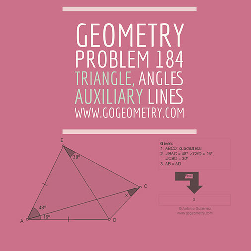 Geometric Art Typography and Sketch of Problem 184. Triangle, Angles, Auxiliary Lines, iPad Apps.