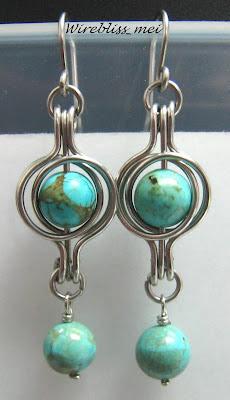 twice around the world wire wrap earrings