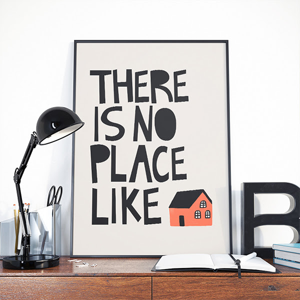 There Is No Place Like Home Quotes Typography Digital
