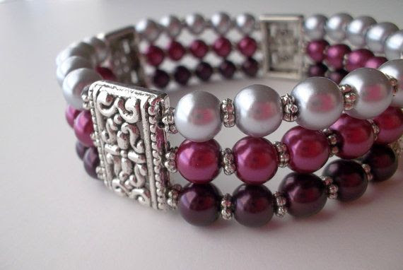 Pearl Cuff Stretch Bracelet Filigree Raspberry Gray