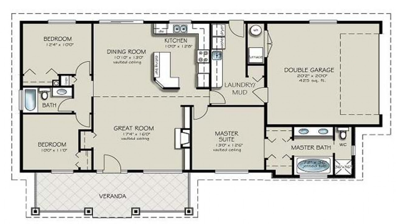Simple 4 Bedroom House Plans 4 Bedroom 2 Bath House Plans ...