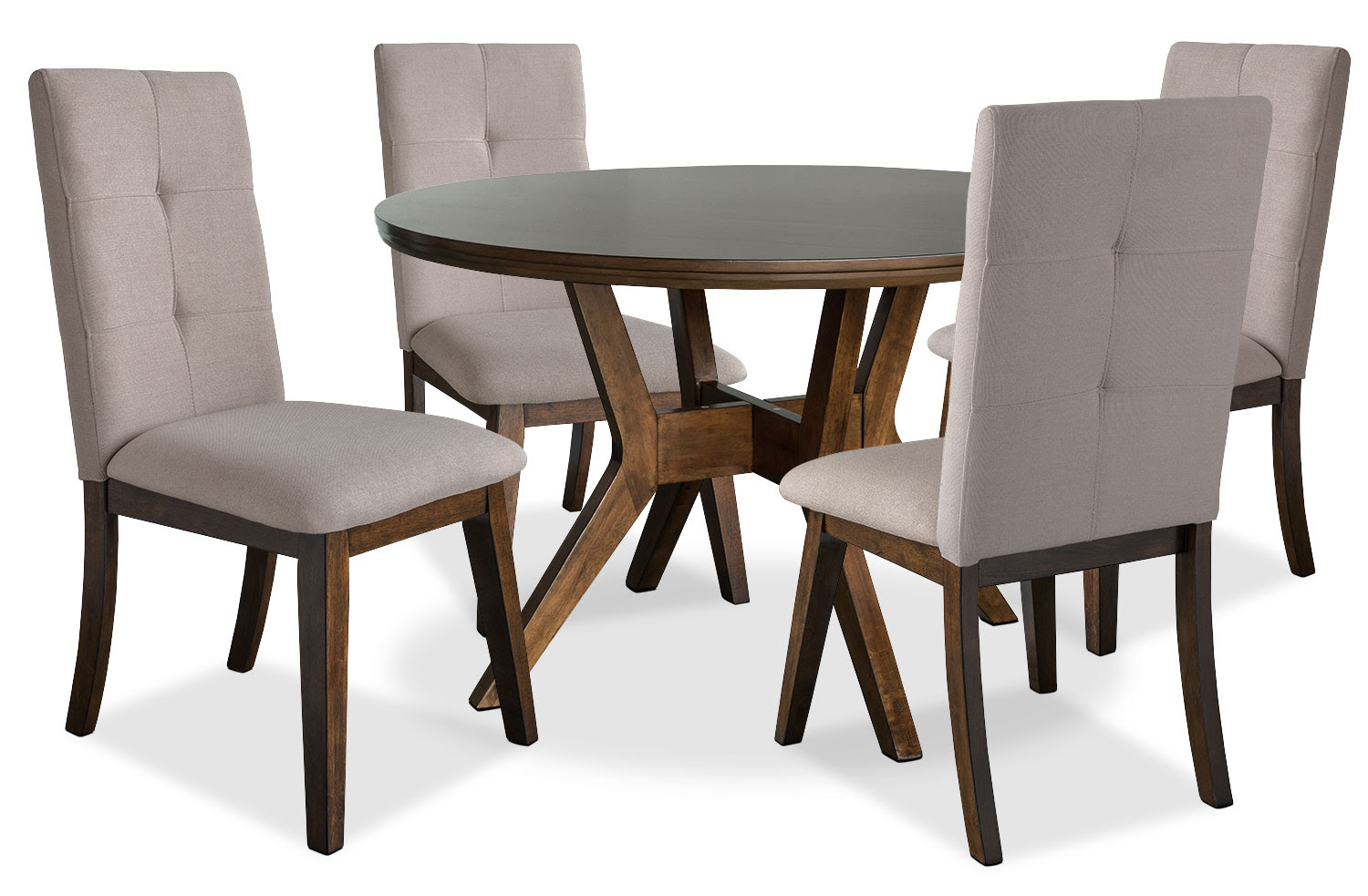 Chelsea 5-Piece Round Dining Table Package with Beige ...