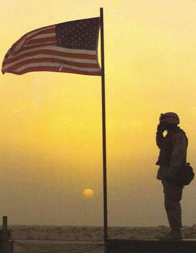 photo of a soldier saluting the American flag
