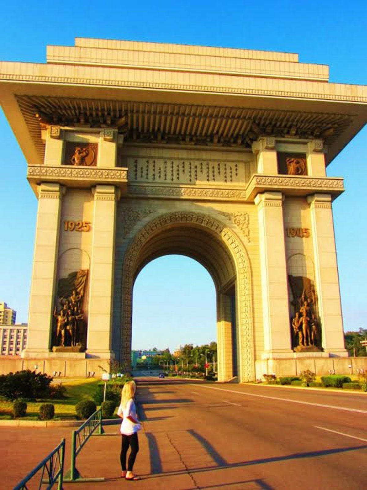 Pictured here is the Arch of Triumph in central Pyongyang. Inaugurated on the 70th birthday of Kim Il Sung in 1982, it consists of 25,000 blocks of granite that represent each day in his life up until that point.