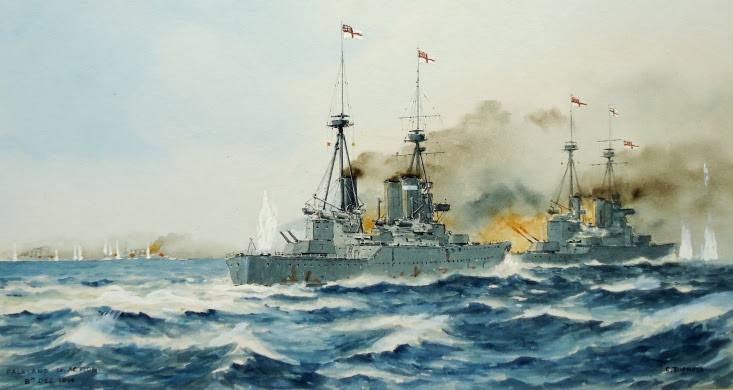 Falklands 1914 - INVINCIBLE and INFLEXIBLE in action