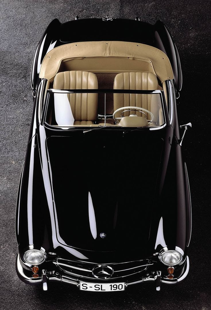 #car #classic #black #convertible #shiny #retro #vintage #leatherinterior #cream #hot #Mercedes