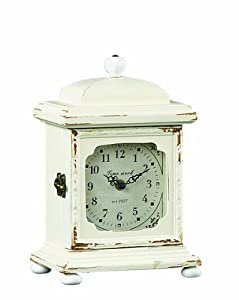 Creative Co-op Wood Mantle Clock, Cream