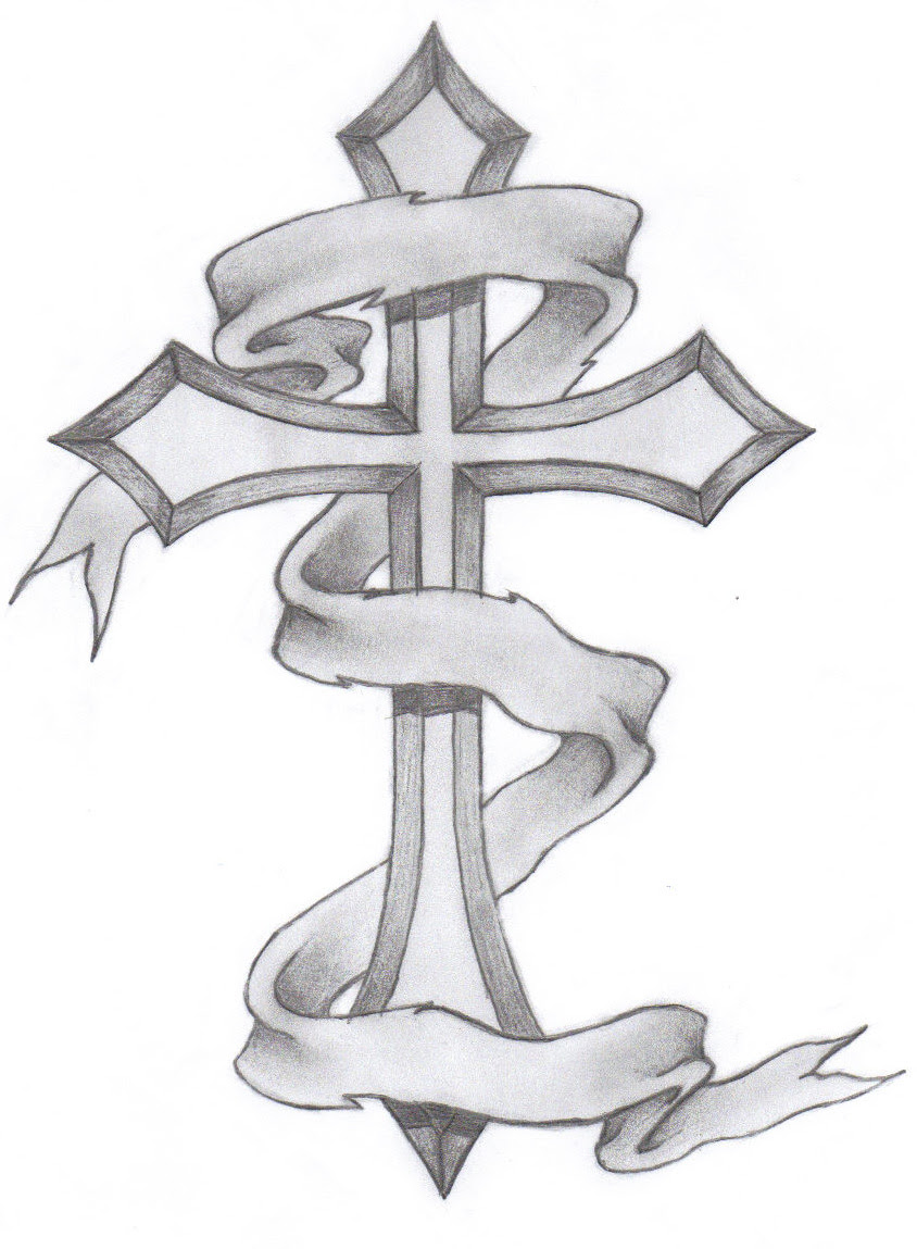 Banner With Cross Tattoo Design