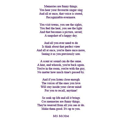 Memories Are Funny Things Ms Moem Poems Life Etc