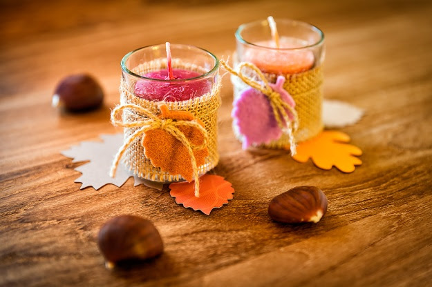 Fall Burlap Candle Holders