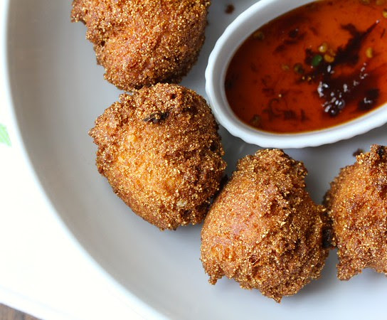 Cheddar Cheese Hushpuppies with Chipotle Honey Dipping Sauce