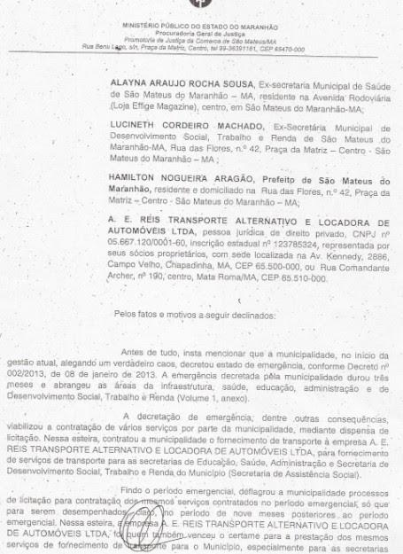 Trecho do documento do MP-MA que inclui Miltinho Aragão entre os envolvidos em desvio de dinheiro público em São Mateus