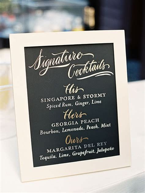 Wedding Signature Cocktail Sign Ideas   Wedding Reception