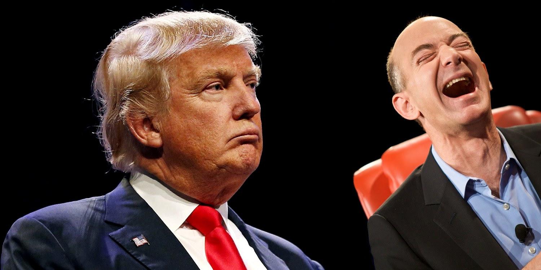 Trump on Left; Bezos on Right
