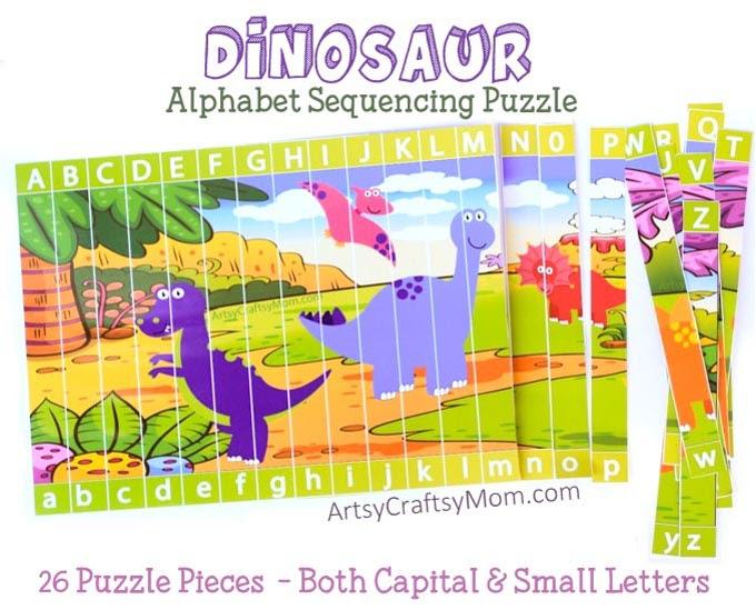 Printable Dinosaur Alphabet Sequencing Puzzle - Artsy Craftsy Mom