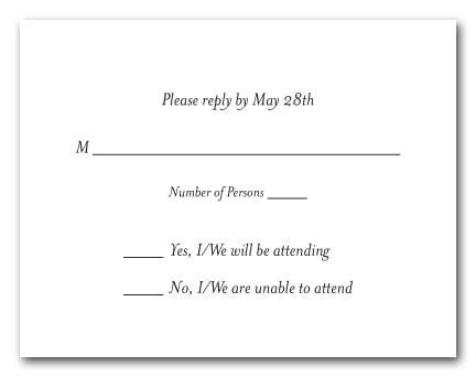 White RSVP Cards, White Response Cards, White Reply Cards