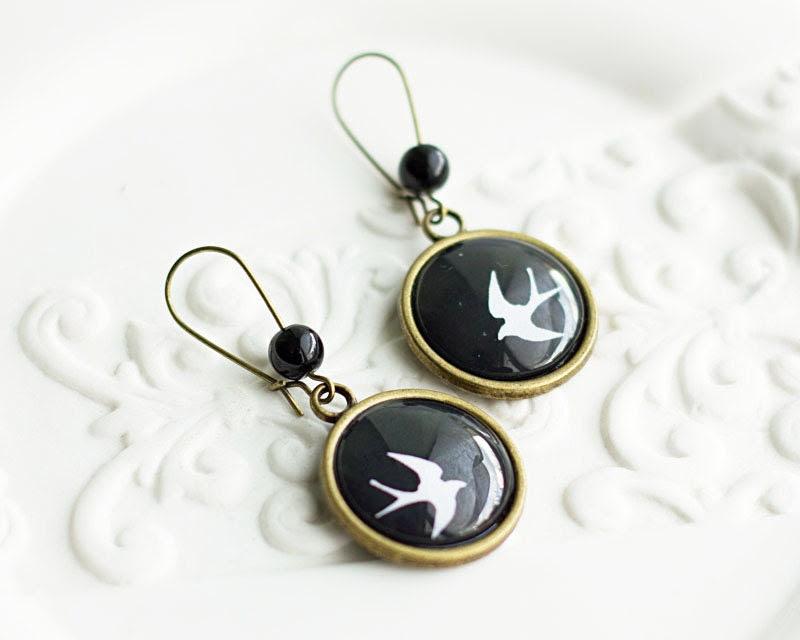 Swallow Earrings, Bird Earrings, Black and White Earrings, Bronze Earrings, Long Hook Earrings, FREE shipping - HelgaYutt