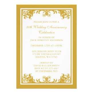 50th Wedding Anniversary Golden Flourish Scroll Personalized Invitation