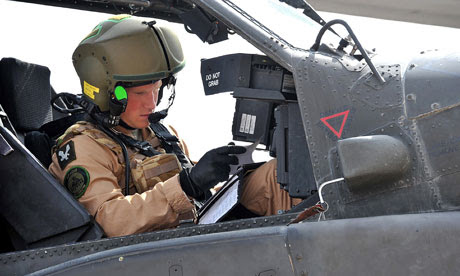 Prince Harry in an Apache helicopter in California
